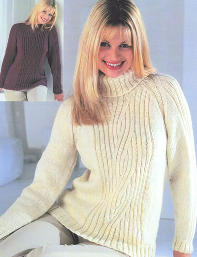 Ladies Raglan Jumper Knitting Pattern : Raglan Sweater With Crew Or Polo Neck Knitting Pattern. Buy instantly online ...