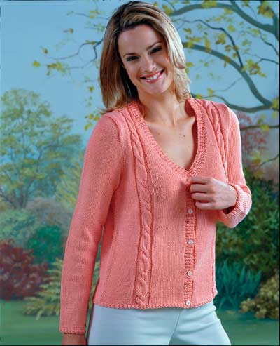 V Neck Sweater And Cardigan With Cable Panel Knitting Pattern. Buy ...