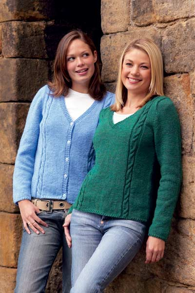 V Neck Sweater And Cardigan With Cable Panel Knitting Pattern Buy