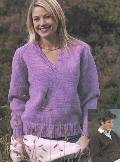 Knitting Pattern Ladies V Neck Jumper : V-Neck Raglan Sweater Knitting Pattern. Buy instantly online ?1.95