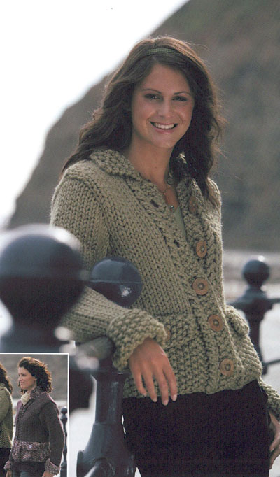 Moss Stitch Jacket With Zip Or Button Fastening Knitting Pattern