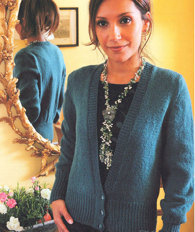 7a5c941e7d28 Loose Knit ST.ST V Neck Cardigan Knitting Pattern. Buy instantly ...