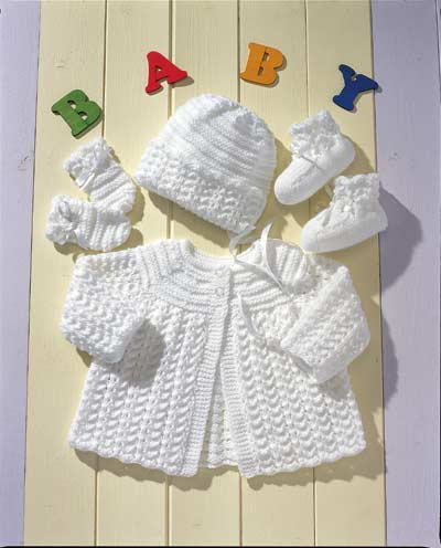 Baby Knitting Patterns Online : Matinee Coat, Bonnet, Mittens And Bootees Knitting Pattern. Buy instantly onl...